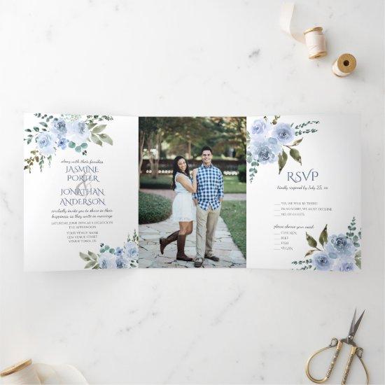 Light Blue & Navy Watercolor Floral Photo Wedding Tri-Fold Invitation