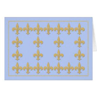 Light Blue Note Card with Gold Color Fleur-de-Lis