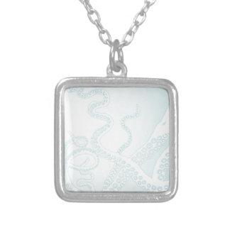 Light Blue Octopus Tentacles Square Pendant Necklace