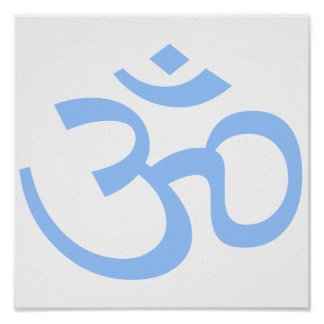 Light Blue Om or Aum ॐ.png Posters