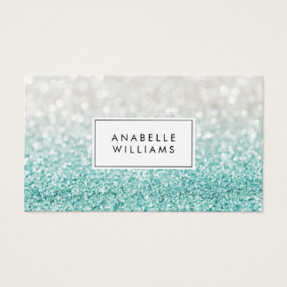 Light Blue Ombre Glitter and Bokeh Pattern Business Card