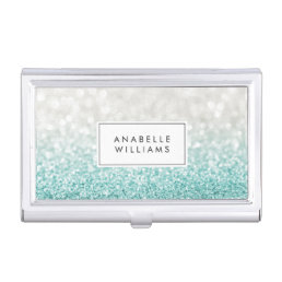 Light Blue Ombre Glitter and Bokeh Pattern Business Card Case