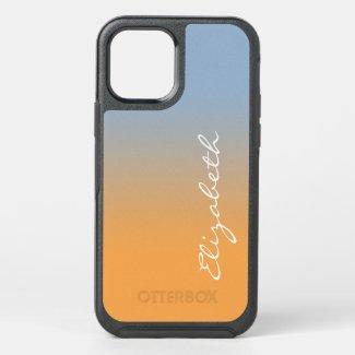 Light Blue Orange Gradient Handwritten Script Name OtterBox iPhone Case