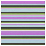 [ Thumbnail: Light Blue, Orchid, White, Green, and Black Lines Fabric ]