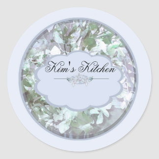 light blue orchids personalized spice jar labels B Sticker