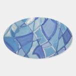 Light Blue Original Abstract Artwork Kara Willis Oval Stickers