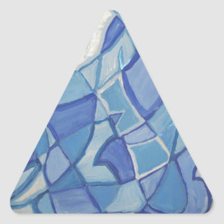 Light Blue Original Abstract Artwork Kara Willis Triangle Sticker