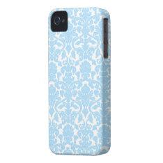 Light Blue Ornate Floral Damask Pattern Case-mate Iphone 4 Case at Zazzle