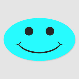 Light Blue Oval Smiley Face Stickers