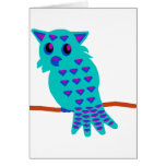 Light Blue Owl Greeting Cards