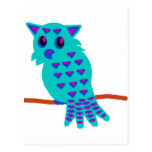 Light Blue Owl Post Cards