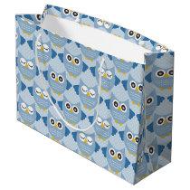 Light Blue Owls Large Gift Bag