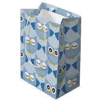 Light Blue Owls Medium Gift Bag