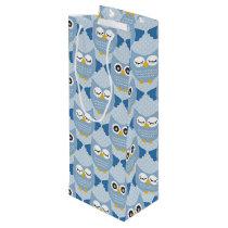 Light Blue Owls Wine Gift Bag