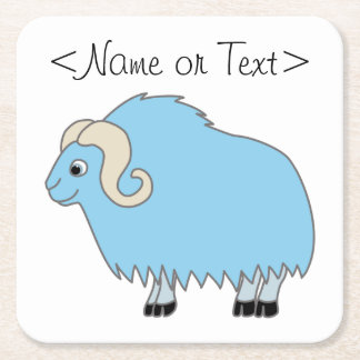 Light Blue Ox with Curled Horns Square Paper Coaster