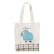 Light Blue Ox with Curled Horns Zazzle HEART Tote Bag