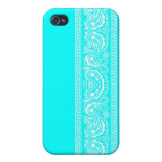 Light Blue Paisley Bandana iPhone 4 Case
