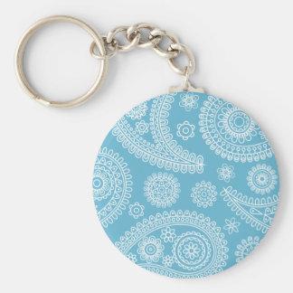 Light blue paisley pattern key chain