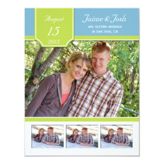 "Light Blue Pale Green Photo Save The Date 4.25"" X 5.5"" Invitation Card"