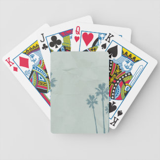 LIGHT BLUE PALM TREES crumpled PAPER TEXTURE DIGIT Bicycle Playing Cards