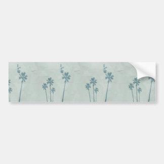 LIGHT BLUE PALM TREES crumpled PAPER TEXTURE DIGIT Bumper Sticker
