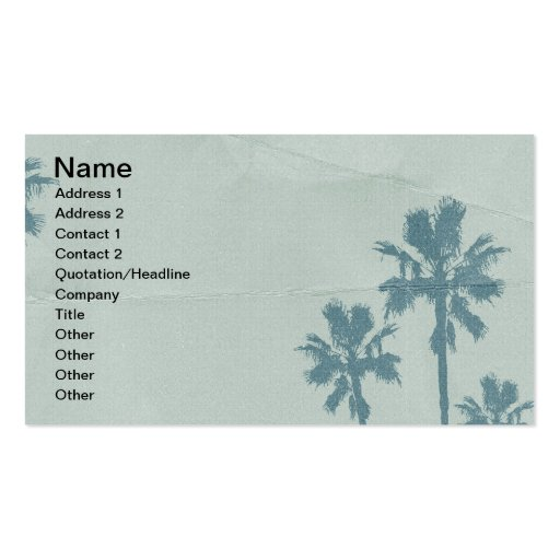 LIGHT BLUE PALM TREES crumpled PAPER TEXTURE DIGIT Business Card Templates