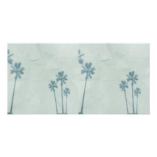 LIGHT BLUE PALM TREES crumpled PAPER TEXTURE DIGIT Card