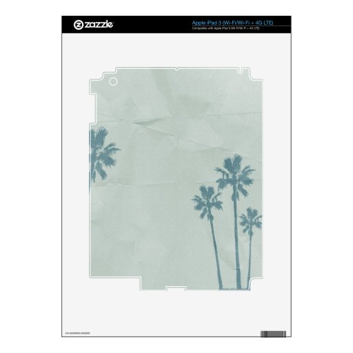 LIGHT BLUE PALM TREES crumpled PAPER TEXTURE DIGIT iPad 3 Decals