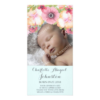 Light Blue Pastel Pink Flowers Thank You Shower Card