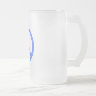 Light Blue Peace Frosted Glass Beer Mug
