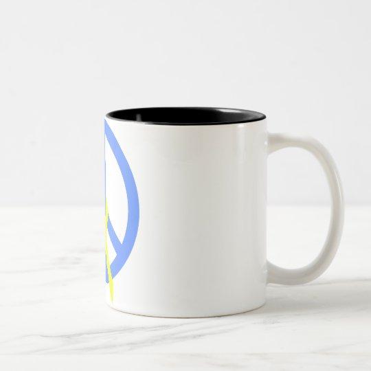 Light Blue Peace & Ribbon Two-Tone Coffee Mug