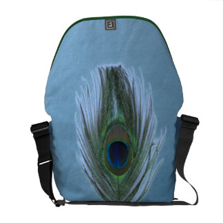 Light Blue Peacock Feather on Dark Blue Courier Bag