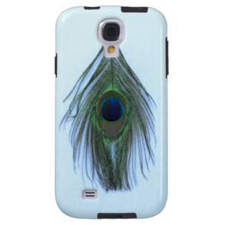 Light Blue Peacock Feather on White Galaxy S4 Case