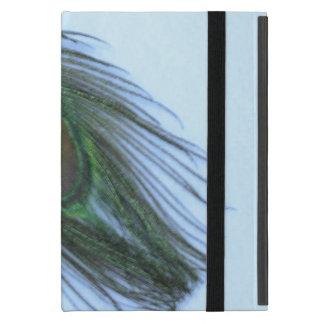 Light Blue Peacock Feather on White iPad Mini Cover
