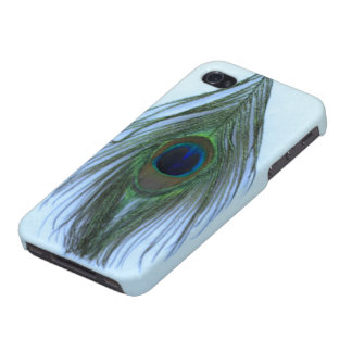Light Blue Peacock Feather on White iPhone 4 Cover