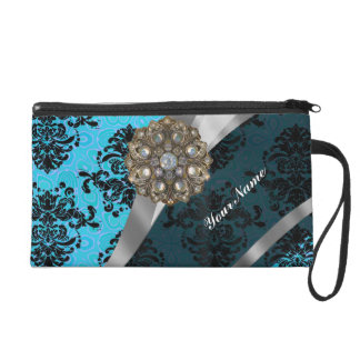 Light blue personalized girly damask pattern wristlet clutches