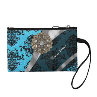 Light blue personalized girly damask pattern coin purse
