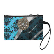 Light blue personalized girly damask pattern coin wallet