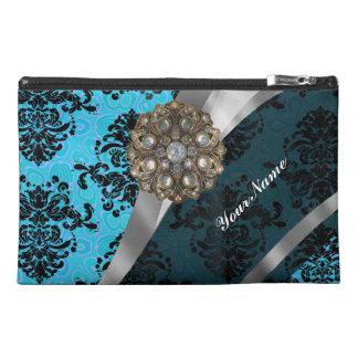 Light blue personalized girly damask pattern travel accessory bag
