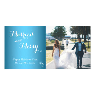 Light Blue Photo Married And Merry Christmas Card