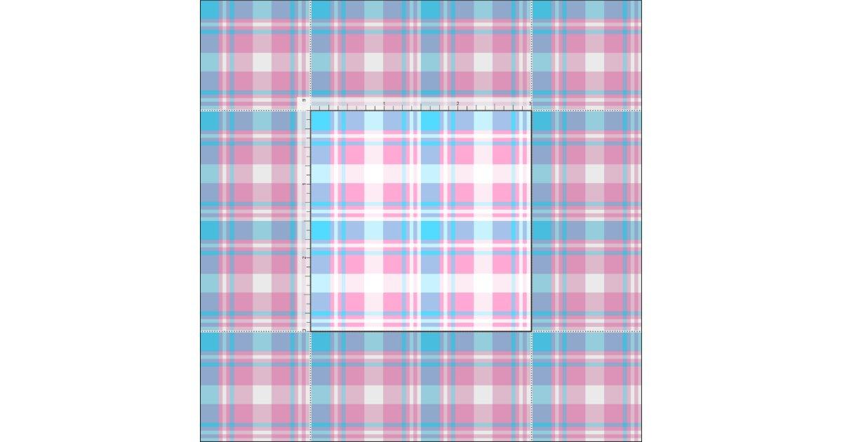 Light Blue Pink And White Plaid Fabric Zazzle Com