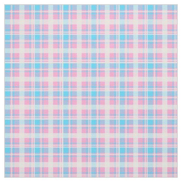 Light Blue, Pink and White Plaid Fabric | Zazzle