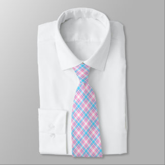 Light Blue, Pink and White Plaid Neck Tie