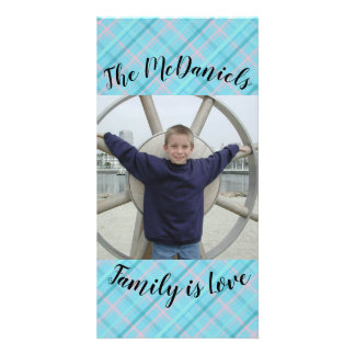 Light Blue Pink Plaid Pattern Family is Love Card