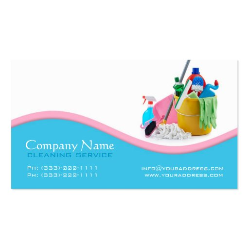 Light Blue & Pink Wave Cleaning Service Card Double Sided