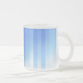 Light Blue Plaid Frosted Glass Coffee Mug