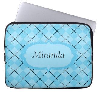 Light Blue Plaid Laptop Sleeve