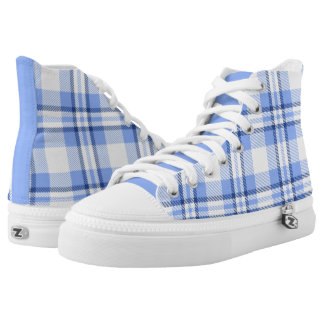 Light Blue Plaid Pattern High-Top Sneakers