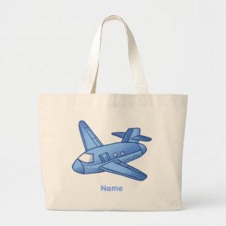 Light Blue Plane Tote Bags