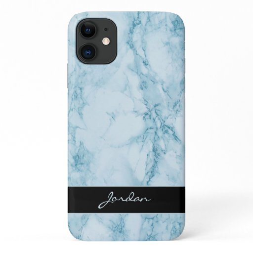 Light Blue Polished Marble Stone with Name iPhone 11 Case